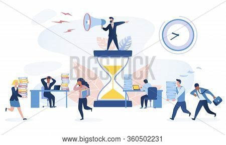 Time Management Concept. Multiracial Office Workers Trying To Finish Work On Time. Working In High S