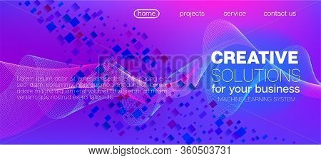 Flying Particles Distressed Purple Vector. 3d Liquid Shapes Website. Big Data Neon Background. Punk