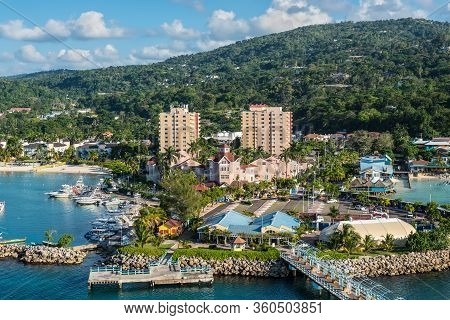 Ocho Rios, Jamaica - April 22, 2019: View From The Ship To The Cruise Terminal In The Tropical Carib