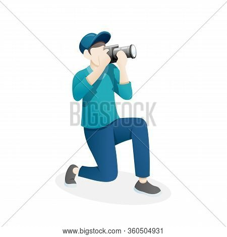 Vector Illustration Male Photographer. Photographer Taking Picture, Cartoon Photographers. People Ph