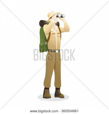Vector Illustration An Explorer Using Binocular. People To Explore The Jungle, Man With Binoculars E