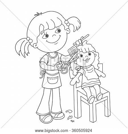 Coloring Page Outline Of Cartoon Girl With Scissors And Comb Playing In The Barber Shop For Dolls .