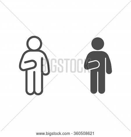 Guy Idler Line And Solid Icon. Man In Front Pose With Raised Hand On The Left Outline Style Pictogra