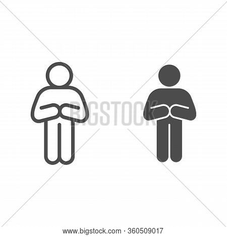 Begging Or Apologizing Man Pose Line And Solid Icon. Front Pose Of Man With Folded Arms Outline Styl