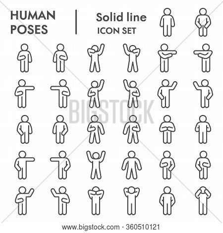 Human Poses Line Icon Set. Figure Symbols Collection Or Vector Sketches. Basic Body Language Signs F
