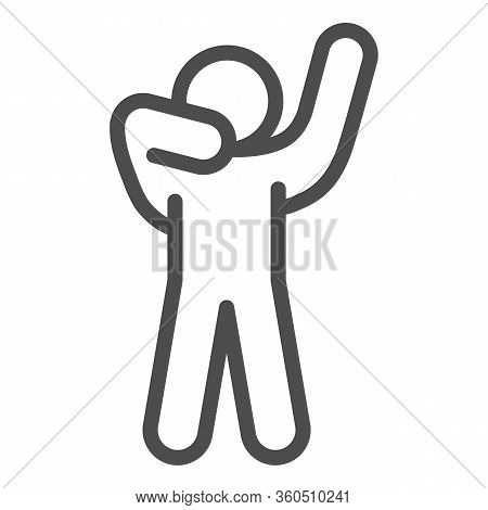 Man Silhouette Posing Line Icon. Man In Front Pose With Raised Hands Outline Style Pictogram On Whit