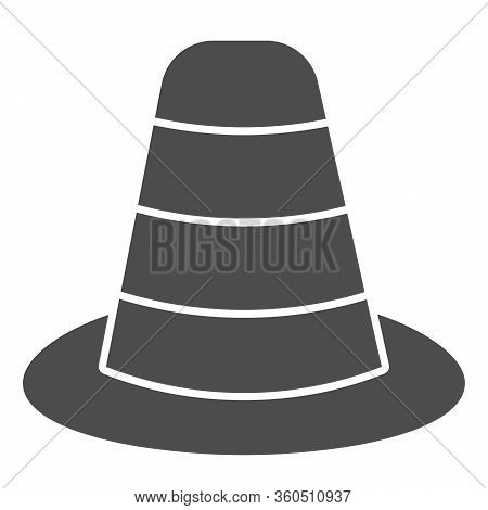 Cone Divider On The Road Solid Icon. Traffic Cone Glyph Style Pictogram On White Background. Emergen