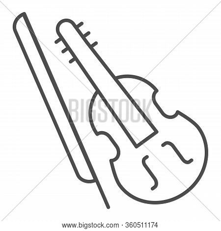 Violin And Bow Thin Line Icon. Fiddle With Fiddle-bow Outline Style Pictogram On White Background. M