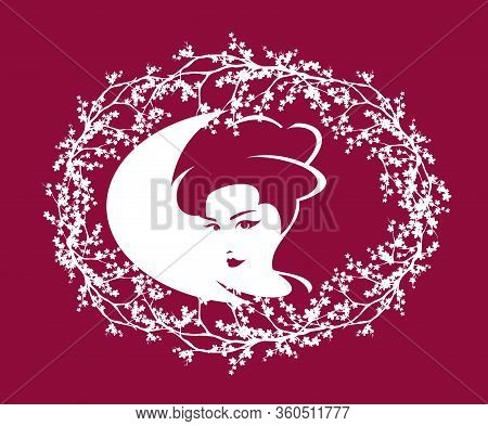 Monochrome Vector Design Of Beautiful Japanese Geisha Woman Portrait In Blooming Sakura Tree Branche