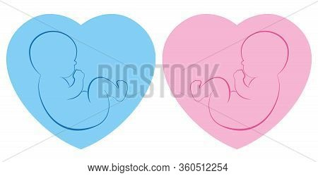 Twins Pictogram. Baby Boy And Baby Girl On Blue And Pink Heart Framed Background. Isolated Outline V