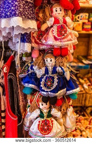 Traditional Magyar Dolls Puppets In Folk Costume Traditional Hungarian Clothing In Market In Buda Ca
