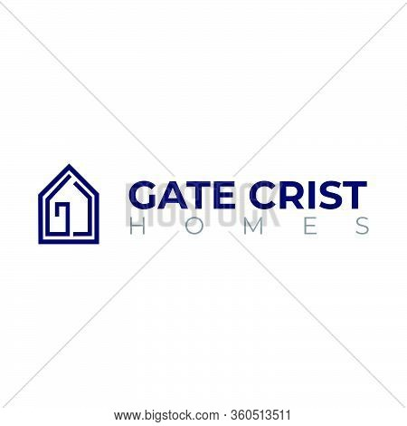 Creative Minimal House Logo With Letter G And C Hidden Inside. Perfect For Real Estate, Realtor, Bro