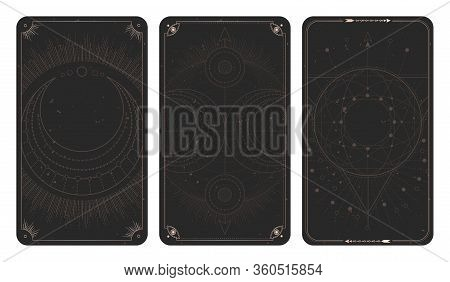 Vector Set Of Three Dark Backgrounds With Geometric Symbols, Grunge Textures And Frames. Abstract Ge