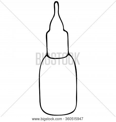 A Bottle Of Nasal Spray. Nasal Drops. Medication For Relieving Congestion. Vector Illustration. Spac