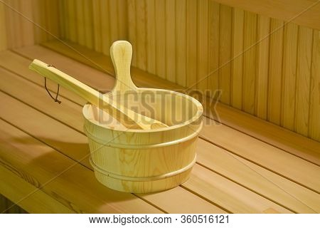 Interior Details Finnish Sauna Steam Room With Traditional Sauna Accessories Basin Scoop. Relax In H