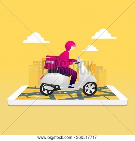 Food Delivery Service By Scooter With Courier. Man Courier Riding Scooter With Parcel Box On Mobile