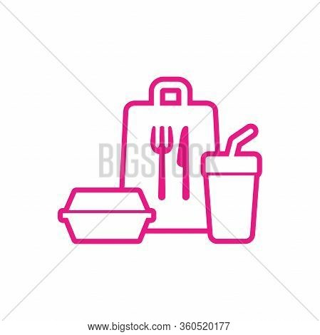 Take Away Food Package Icon. Fast Food Package Line Icon.