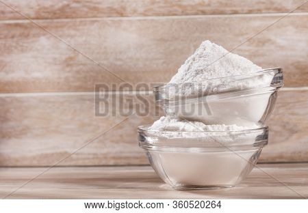 Baking Soda In Glass Bowls - Text Space