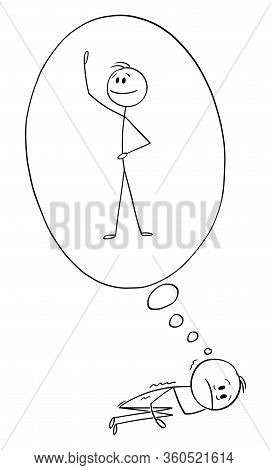 Cartoon Stick Figure Drawing Conceptual Illustration Of Man In Collapse Or Break Down, Lying On The