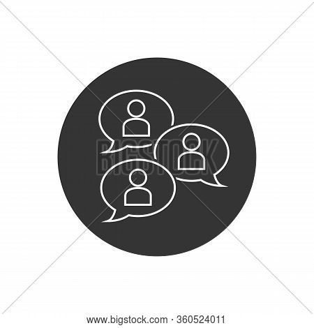 Group Chat Bubbles Or Forum Discussion With Multiple People Chatting Flat Vector Line Icon For Apps