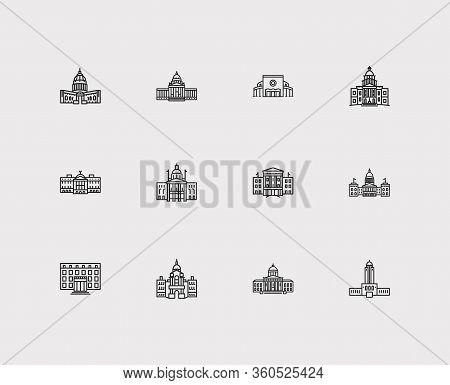 Landmark Icons Set. Alaska State Capitol And Landmark Icons With North Carolina State Capitol, Gover