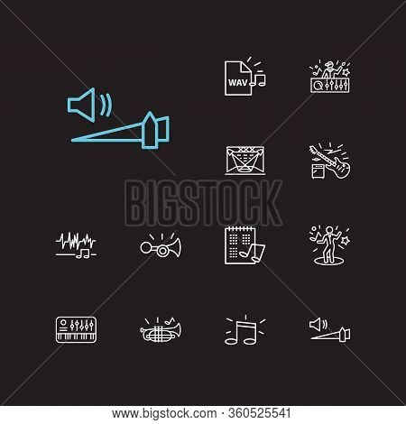 Melody Icons Set. High Volume And Melody Icons With Electric Guitar, Concert Stage And Night Club. S