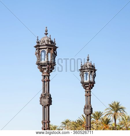 Cadiz Streetlight.  A Pair Of Ornamental Streetlights Are Seen In The Spanish City Of Cadiz.