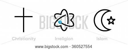 Set Of Christianity, Irreligion And Islam Icons. Editable Line Vector.