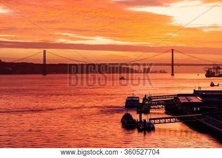 Lisbon, Portugal - November 9:  Sunset Over The Tagus River Off The Lisbon Waterfront In Portugal On