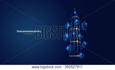 Blue Abstract 3d Isolated Telecommunication Tower On Innovation Technology Background. Low Poly Wire
