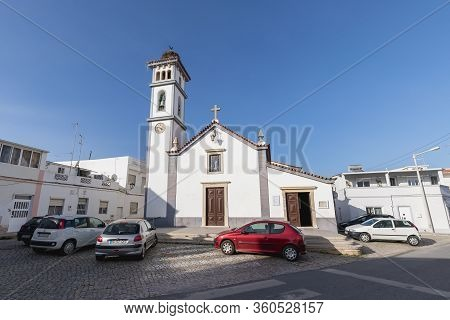 Quarteira, Portugal - February 27, 2020: Architecture Detail Of The Church Of Our Lady Of Conception