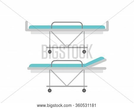 Hospital Bed. Stretcher Bed. Medical Bed Icons. Vector
