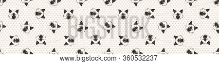 Cute Cartoon Ragdoll Kitten Face Seamless Border Pattern. Pedigree Kitty Breed Domestic Kitty Backgr