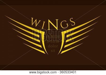 Winged Emblem For Your Company. Wing Silhouette For Tattoo, Logo Or Other Symbols