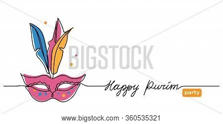 Happy Purim Simple Vector Web Banner With Carnival Mask . One Continuous Line Drawing, Doodle, Backg