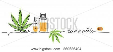 Cannabis Oil Minimalist Vector Web Banner. Marihuana, Hemp, Weed, Banner, Background. One Continuous