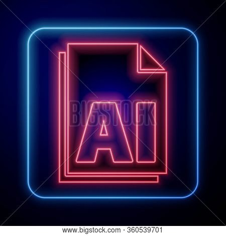 Glowing Neon Ai File Document. Download Ai Button Icon Isolated On Blue Background. Ai File Symbol.