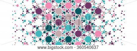 Islamic Pattern, Arabesque Vector Border. Geometric Halftone Texture, Islamic Pattern With Color Til