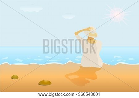 A Woman In White Clothes Sitting On The Beach In The Sun. Sandy Summer Beach In The Sun.