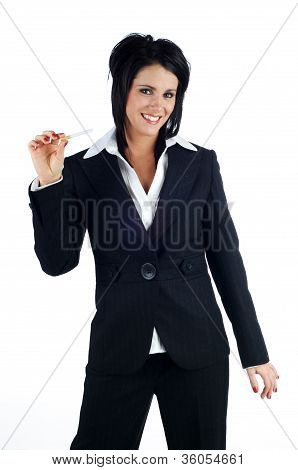 Business Woman Smiling And Holding A Cigarette