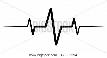 Heart Rate Pulse, Icon Medicine Logo, Vector Heartbeat Heart Rate Icon, Audio Sound Radio Wave Ampli