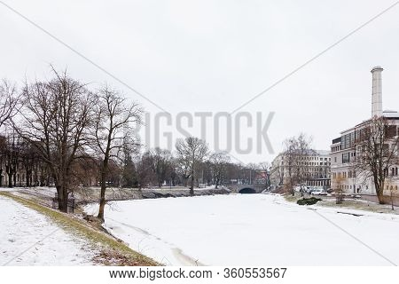 Riga, Latvia - January 30:  A Winter View Along A Frozen Riga Canal Pictured On January 30, 2017.  T