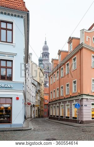 Riga, Latvia - February 2:  The View Along A Street In Riga Towards Dome Cathedral.  The Church In T