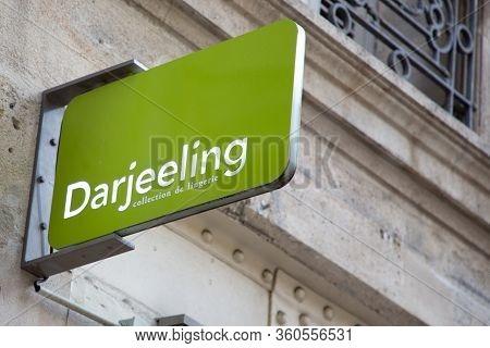 Bordeaux , Aquitaine / France - 11 25 2019 : Darjeeling Logo Store Lingerie Collection Sign Shop
