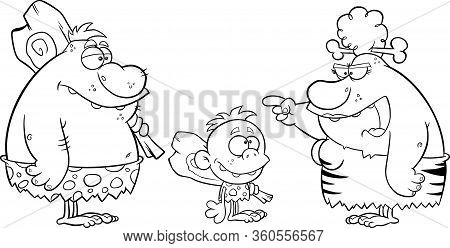 Black And White Caveman Family Man Father Kid Boy And Angry Cave Woman Mother Talking. Raster Illust