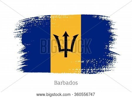 Barbados Caribbean Islands Official Flag In Shape Of Paintbrush Stroke. National Identity Symbol For