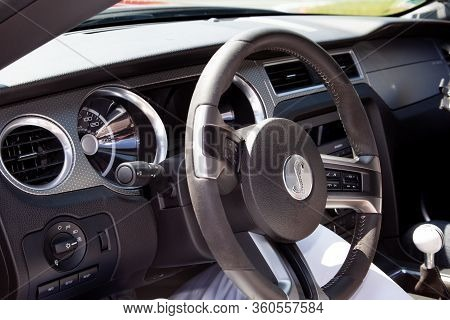 Bordeaux , Aquitaine / France - 02 21 2020 : Ford Mustang Shelby Interior Steering Wheel New Modern