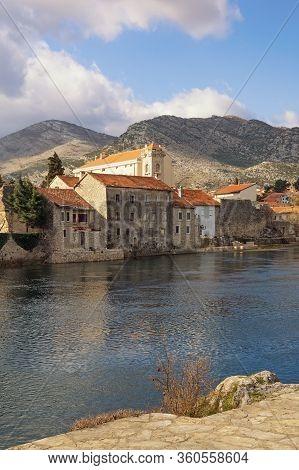 View Of Old Town Of Trebinje On Bank Of Trebisnjica River On Sunny Winter Day. Bosnia And Herzegovin