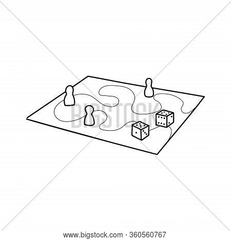 Various Board Games And Many Figurines Background. Dice, Chart, Map, Silhouettes Hand Drawn Illustra