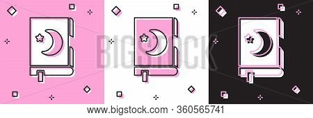 Set Holy Book Of Koran Icon Isolated On Pink And White, Black Background. Muslim Holiday, Eid Mubara